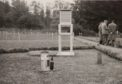 Balmoral kitchen garden site in April 1952 showing the Stevenson Screen and rain gauges. (The Met Office)