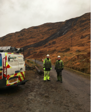 Pictured at the landslide from left to right are senior engineers Chris Stitt and Angus Wilson.