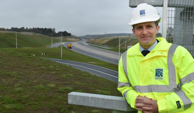 Michael Matheson at the newly opened Craibstone to Stonehaven stretch of the AWPR