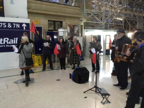 Trade Unionists gathered  at Aberdeen Railway Station for the John MacLean commemoration