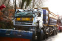 The gritter after being recovered from the side of the road near to the Old Inn in Appin
