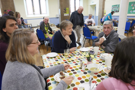 Residents attending Inverness Foodstuff at Ness Bank Church of Scotland