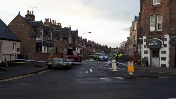 Montague Row closed for around three hours yesterday after debris fell from the roof of a property.