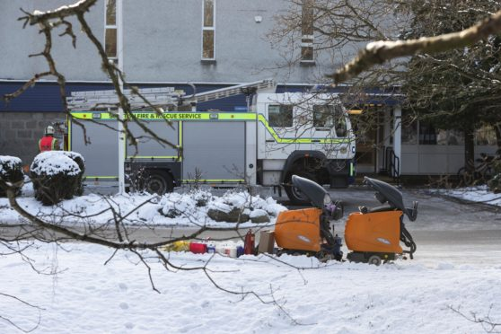 Aboyne Academy was shut off to all pupils and staff while the emergency services attend the incident. Pictured at the front of the school are two orange pieces of equipment which were taken out of the cleaning cupboard.   (Photo: Ross Johnston/Newsline Media)