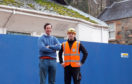 Developer Angus MacDonald and site manager Mark Little in front of the cinema site.