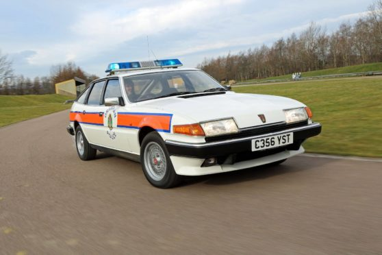 Corgi have produced a scale model of the Rover SD1 Vitesse Police car.