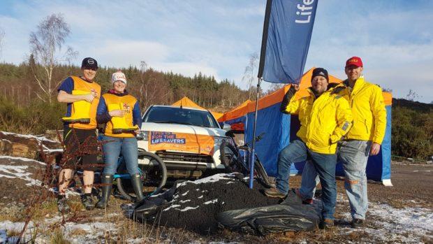 Allan Lipp with crew members Mhairi Ross Michael Maclellan and Scott Walker.