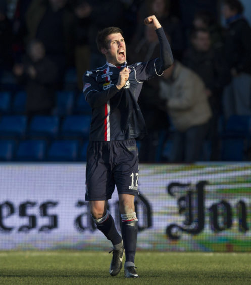 Rocco Quinn celebrates after equalising for Ross County.