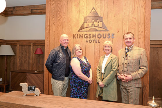 Left to right:  Kingshouse Hotel general manager Craig Haddow and guest services manager Jessie Cattanach with Fiona Leckie, head of interiors and retail at the Crieff Hydro Family of Hotels and group chief executive Stephen Leckie