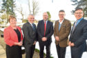 Rhoda Grant MSP, Cathal Doherty of Road bridge. Danny Finch of Moray Offshore, Julian Brown of MHI Vested and Bob Buskie of the Cromarty Forth Port Authority.