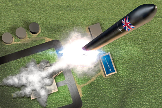 Notional image of the UK's first commercial spaceport at the Sutherland Site in Melness, Scotland.