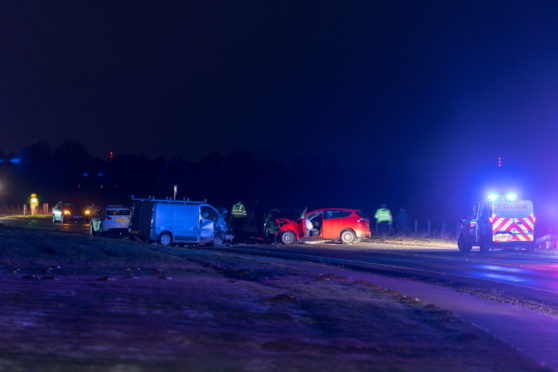Crash scene on the A96 outside Forres.