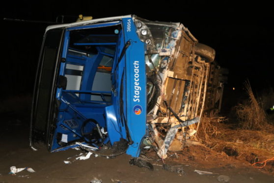 The bus which left the road in the Highlands.
