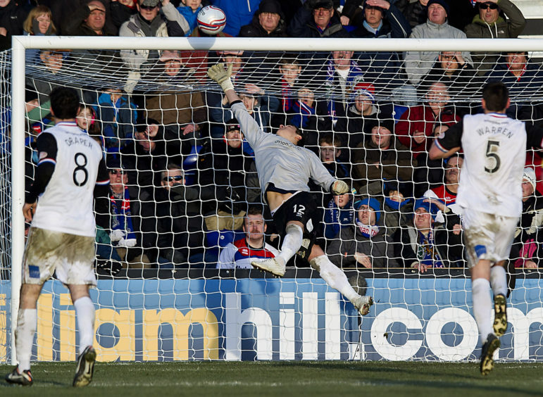 ICT keeper Antonio Reguero is unable to prevent Iain Vigurs' deflected effort finding the net.