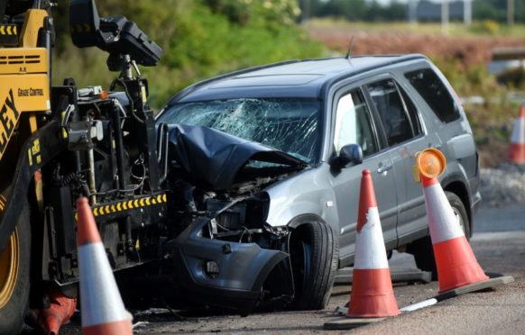 Crash on the Old Aberdeen Road, Balmedie. 02/07/18 Picture by HEATHER FOWLIE
