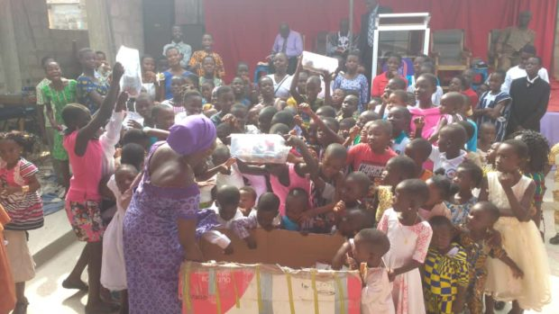 The shipment of festive gifts from Macduff is handed out in Ghana