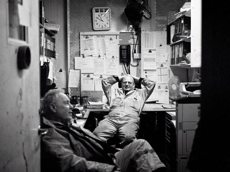 Workers taking a break.