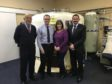Jim Craig, MS Therapy Centre volunteer, Steve Simpson,  Bristow Helicopters ECR Simulator & Facilities Manager, Eileen Matthew, MS Therapy Centre manager and Matt Rhodes, Bristow Director UK & Turkmenistan Oil and Gas