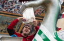 Up Helly Aa under construction: Stuart Nicolson adding the beard to the boat.