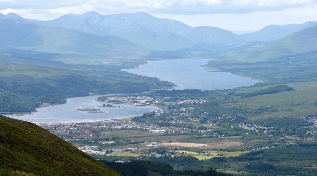 Scottish Highlands: Fort William, Loch Linnhe (left) with the village of Caol and then Loch Eil in the distance. Lochaber spotted in the bottom left