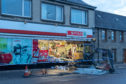 A digger was rammed into the Spar premises in Regent Street, Keith.