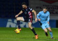 08/12/18 LADBROKES CHAMPIONSHIP ROSS COUNTY V QUEEN OF THE SOUTH (1-1) GLOBAL ENERGY STADIUM - DINGWALL Ross County's Ross Draper (L) competes for the ball with Queen of the South's Josh Todd
