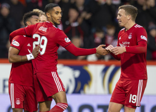 Aberdeen's Max Lowe celebrates his goal.