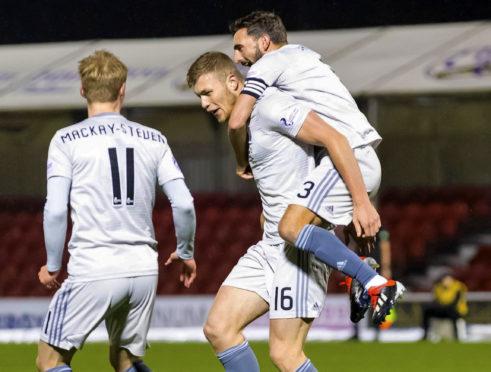 Aberdeen's Sam Cosgrove celebrates his opener