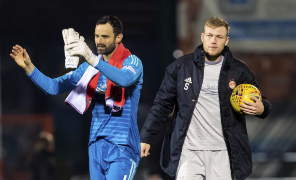 Aberdeen goalkeeper Joe Lewis and Sam Cosgrove after the Kilmarnock draw.
