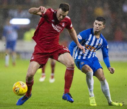 Aberdeen defender Andy Considine against Kilmarnock's Jordan Jones.