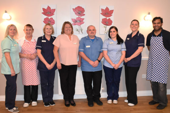 Staff at Grandholm Care Home - Jane Rosendale, Margaret Thomson, Carol Douglas, Val Buchan, Richard Duthie, Leah McGill, Alison Keepax and Antony Varghese