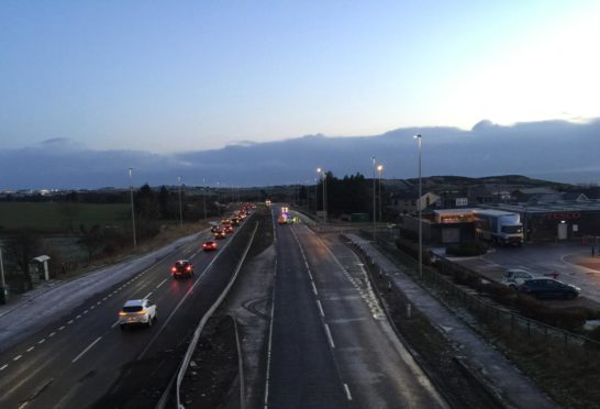 The scene on the A92 at 8.25am. Picture by Joe Churcher.