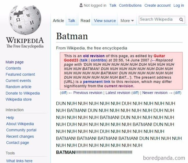 Since we know Batman doesn't need to be described in too much detail