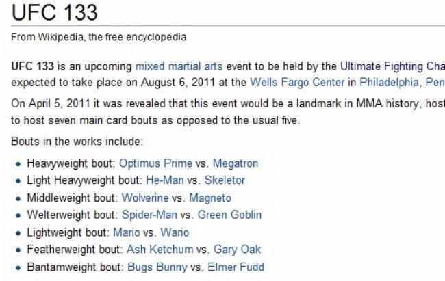 Someone decided to alter the UFC line-up in 2011