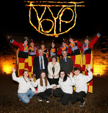 Year of Young People (YOYP18) launch at Haddo House. Picture shows (middle row, L to R) Aberdeenshire Lord Provost Bill Howatson, Councillor Gill Owen, and Aberdeenshire Council Chief Executive Jim Savage, with (front row, L to R) YOYP Ambassadors Chelsea Duncan (15), Eva Simpson (13), Nieve Birkett-Hodson (14) and Emil Harvey (17), with MODO Circus members (back row). Picture Karen Murray/Firstpix