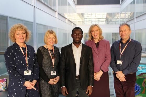 (L to R) Dr Flora Douglas, Professor Catriona Kennedy, Abodunrin Aminu, Professor Angela Kydd, Professor Ian Murray