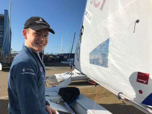 Finaly Tulett with his Laser Radial sailing dinghy