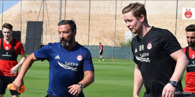 Derek McInnes and Dons coach Barry Robson in Dubai. AFC Media.