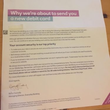 Letter posted to RBS customers about getting a new debit card following a cyber hack on Ticketmaster