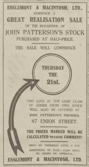 A sale advert placed in the P&J in 1920