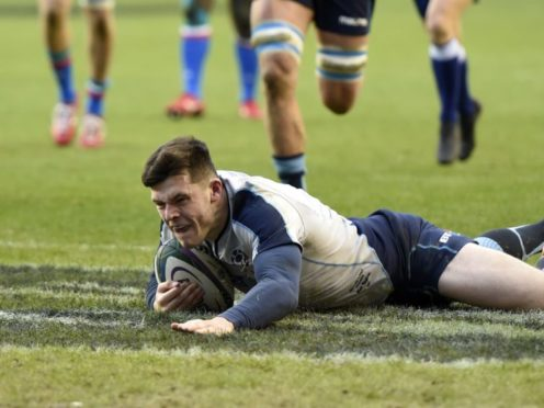 Scotland's Blair Kinghorn scored a hat-trick of tries against Italy (Ian Rutherford/PA)