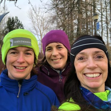 From L2R Kathleen Robertson, Cindy McKee, Kiersten Pecchia (Jan 19 Huntly Nordic Centre Training Day)