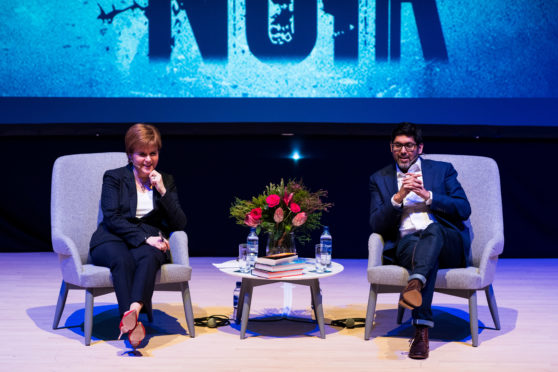 Granite Noir 2019. Friday 22nd events and authors. First Minister Nicola Sturgeon and Abir Mukherjee at The Music Hall.