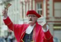 Lossiemouth Town Crier Alan Nicholls who is challenging  Kilwinning crier John Smith to a battle after he claimed he was the only town crier in Scotland.  Pic by Helen Osler/Northscot