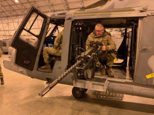 Lib Dem MP Jamie Stone at the Royal Marines' base in Bardufoss