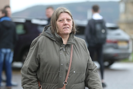 Alison Macdonald leaving Inverness Sheriff Court where she appeared on a charge of embezzlement.