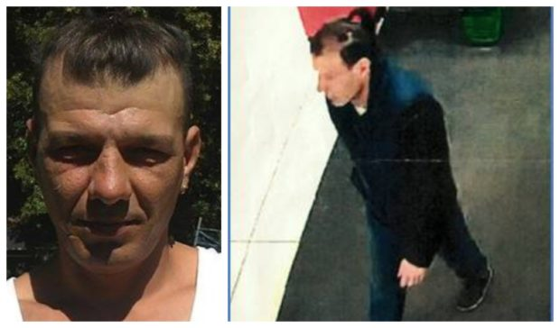 Marian, left, and the CCTV image of him at Asda, right.