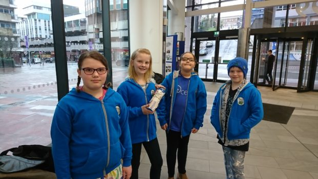Caillin Patterson, 12, Ella Pringle, nine, and Finlay Pringle, 11 with 10-year-old Lilly Platt