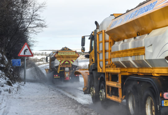 Gritters struggled to keep some routes across the north-east clear of snow.