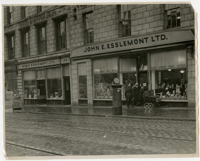 Famous name: The frontage of John E Esslemont's shops in Aberdeen's King Street, as they were in this photograph from December 1949.
